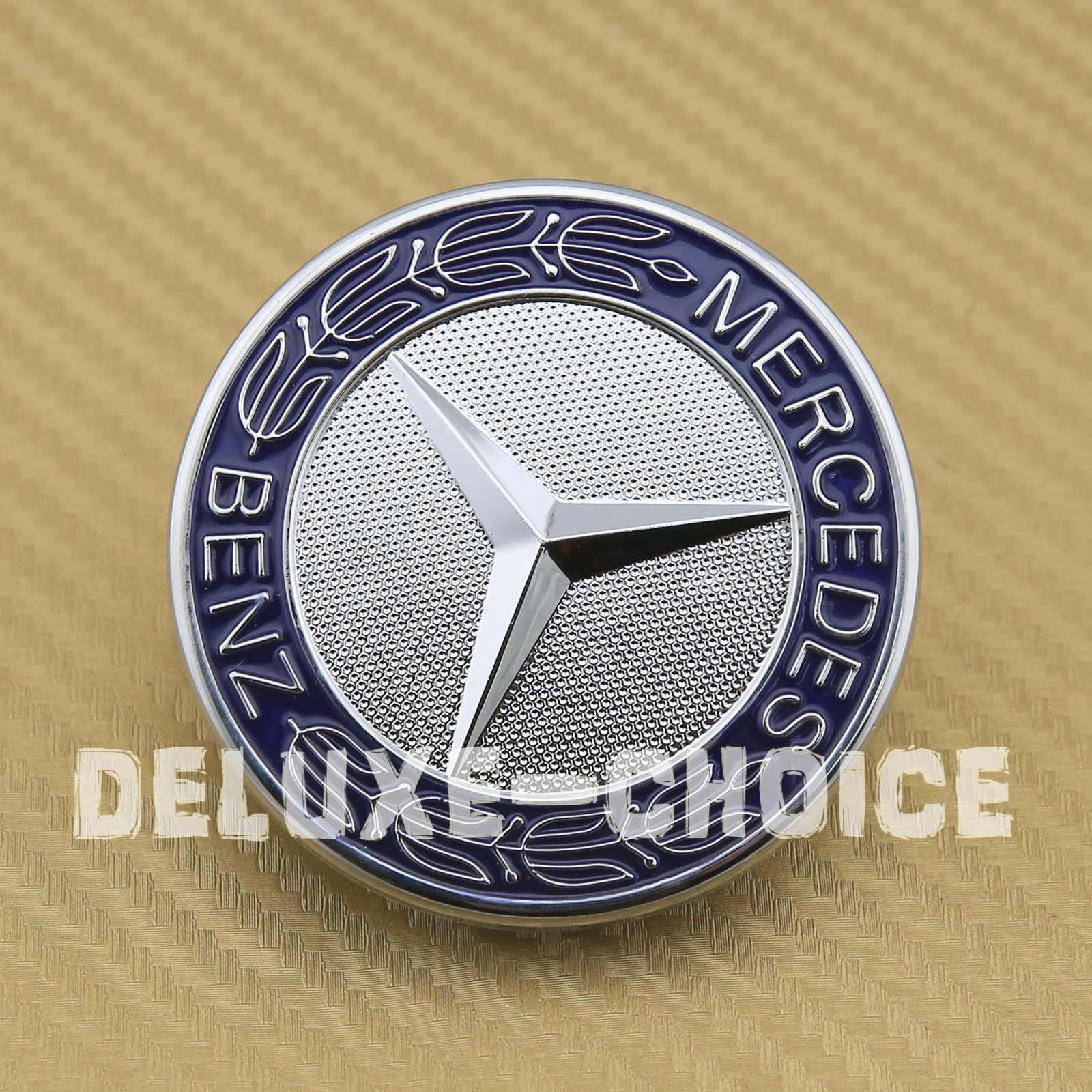 Mercedes benz oem star flat hood bonnet front emblem for c for Mercedes benz bonnet badge